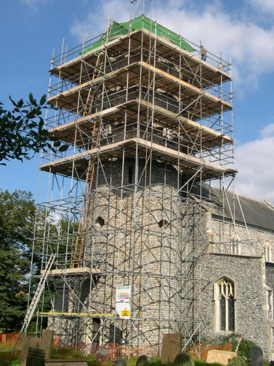 2007 Tower under scaffolding Forncett Archive Photo J Webster 3a