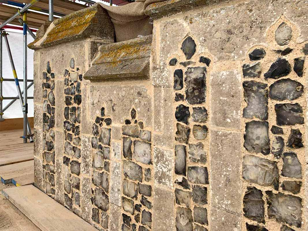 Tower parapets: Repaired flushwork panels