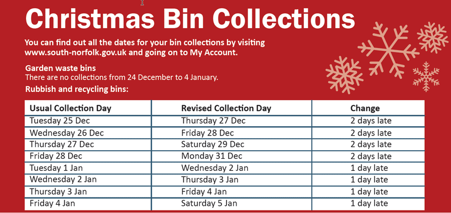 christmas bin collection 2018